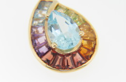 Vintage 1.6ct Pear Cut Blue Topaz & Multi-color Gemstone Pendant in 14k Yellow Gold