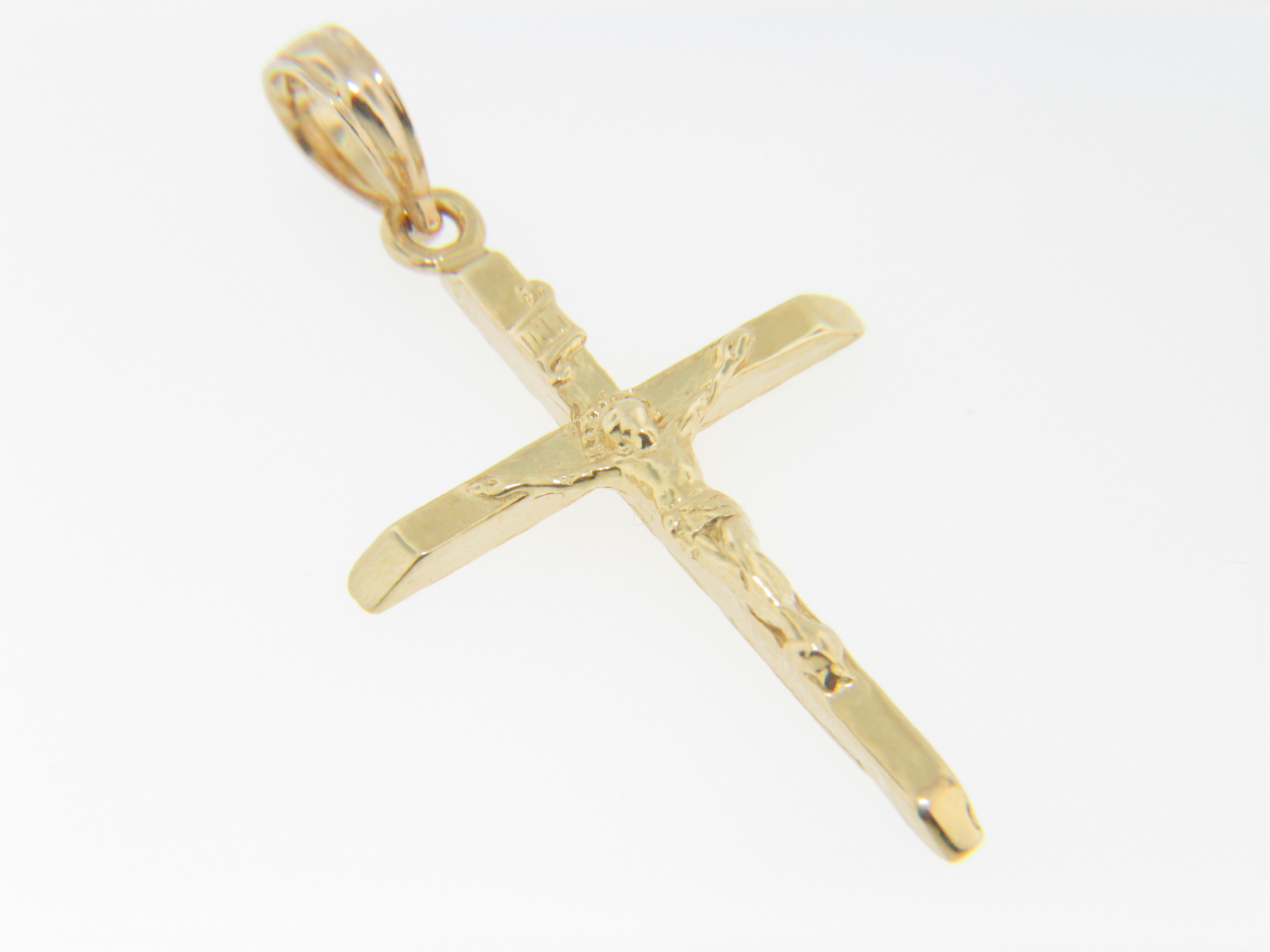 Timeless Christian Crucifix Cross Pendant With Fine Detail in 14k