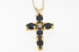 1.0ct Marquise Sapphire & Diamond Cross Pendant/Necklace in 14k Yellow Gold