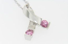 Pink Sapphire Breast Cancer Awareness Ribbon Pendant Necklace in 14k White Gold