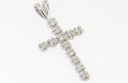 0.12ctw Round Diamond Christian Cross Pendant in 14k White Gold