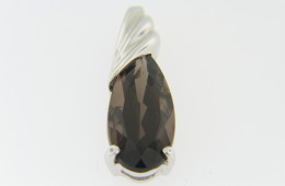 4.45ct Pear Cut Smokey Quartz Pendant in 14k White Gold