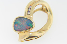 Vintage Organic Shape Opal Doublet & Diamond Pendant in 14k Yellow Gold