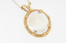 Oval Moonstone & Rope Design Pendant/Necklace in 14k Yellow Gold