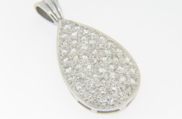 1.8ctw Round Pave Set Diamond Pear Shape Pendant in 14k White Gold