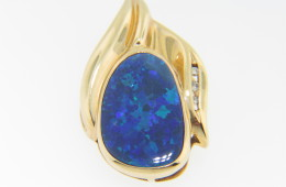 Organic Shape Oval Opal & Round Diamond Pendant in 14k Yellow Gold Very Fine