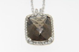 ColorStory Cushion Cut Smokey Citrine & Diamond Pendant/Necklace in 14k White Gold