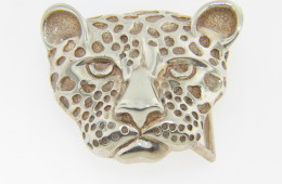 Vintage Very Fine Cheetah Leopard Big Cat Belt Buckle in .925 Sterling Silver