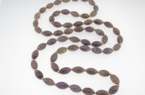 Vintage Antique Purple Tone Jade & 14k Yellow Gold Bead Necklace 30""