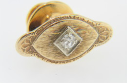 Vintage Antique Very Fine Round Diamond Estate Tie Tack Pin in 14k Yellow Gold