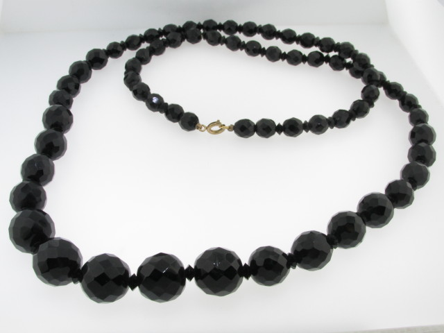 Vintage Antique Victorian Tapered Black Glass Bead Fine Costume Necklace 30""