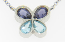 Contemporary Pear Cut Blue Topaz & Iolite Butterfly Necklace in 14k White Gold