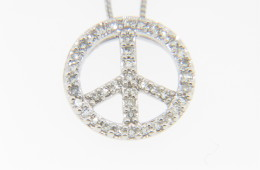 Contemporary 0.15ct Round Diamond Peace Sign Pendant/Necklace in 14k White Gold