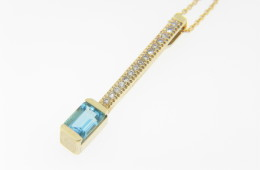 Emerald Cut Blue Topaz & Diamond Pendant/Necklace in 14k Yellow Gold 18.0""