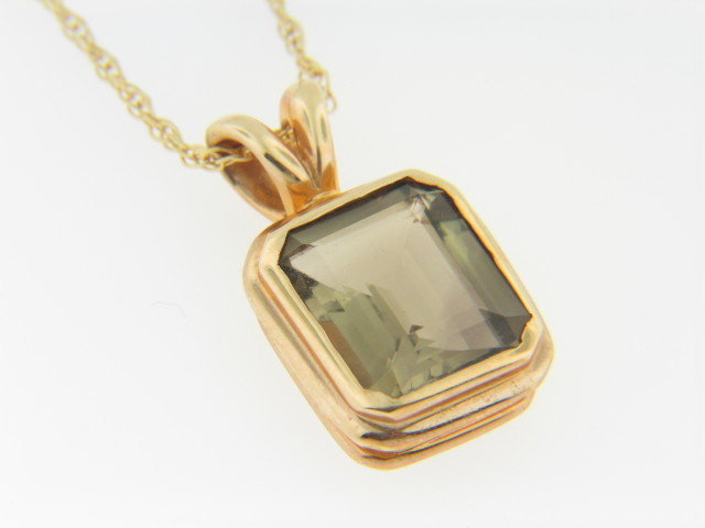 Contemporary Emerald Cut Smokey Topaz Pendant/Necklace in 14k Yellow Gold