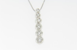 Contemporary 0.25ctw 6 Tier Round Diamond Pendant/Necklace in 14k White Gold