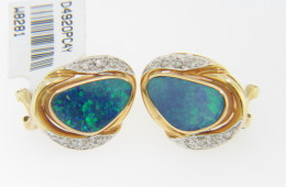 Contemporary Oval Opal Doublet & Round Diamond Stud Earrings 14k Yellow Gold