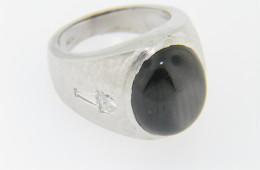 Vintage Oval Black Star Sapphire & Diamond Estate Ring in 14k White Gold Size 6.5