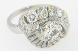 Vintage 1.29ctw Whimsical Round & Baguette Diamond Estate Ring in Platinum Size 5.5 Very Fine