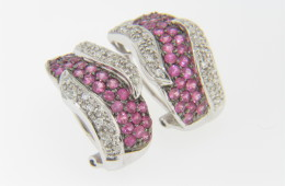 Contemporary Round Pink Sapphire & Diamond Wave Stud Earrings in 14k White Gold