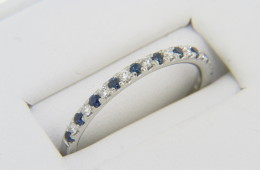 Vintage 0.50ctw Round Sapphire & Diamond Band Ring in Platinum Size 8.5 Very Fine