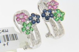 Contemporary 1.7ctw Pink & Blue Sapphire, Tsavorite & Diamond Flower Stud Earrings In 14k White Gold