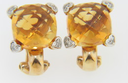 Contemporary Fine Square Cushion Cut Citrine & Diamond Heart Design Stud Earrings in 14k Yellow Gold