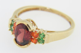 Vintage Unique Red, Orange & Green Garnet Ring in 14k Yellow Gold Size 7