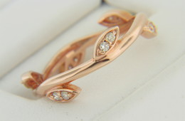 New Contemporary Round Diamond Olive Leaf Design Band Ring in 14k Rose Gold Size 7