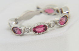 Contemporary Oval Pink Tourmaline & Diamond Band Ring in 14k White Gold Size 6.25