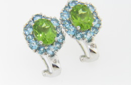 Contemporary Peridot, Blue Topaz & Diamond Fine Stud Earrings in 14k White Gold