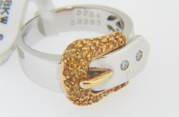 Contemporary Round Orange Sapphire & Diamond Buckle Band Ring in 18k White Gold Size 6.5