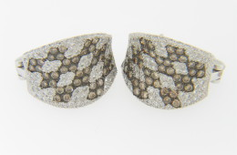 Contemporary Round White & Champagne Diamond Stud Earrings in 14k White Gold