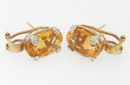 Contemporary Oval Citrine & Diamond Timeless Stud Earrings in 14k Yellow Gold