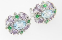 Contemporary Blue Topaz, Amethyst, Tsavorite & Diamond Flower Stud Earrings in 14k White Gold