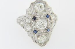 Vintage Very Fine 1920's Diamond And Sapphire Filigree Ring Platinum Size 5.5