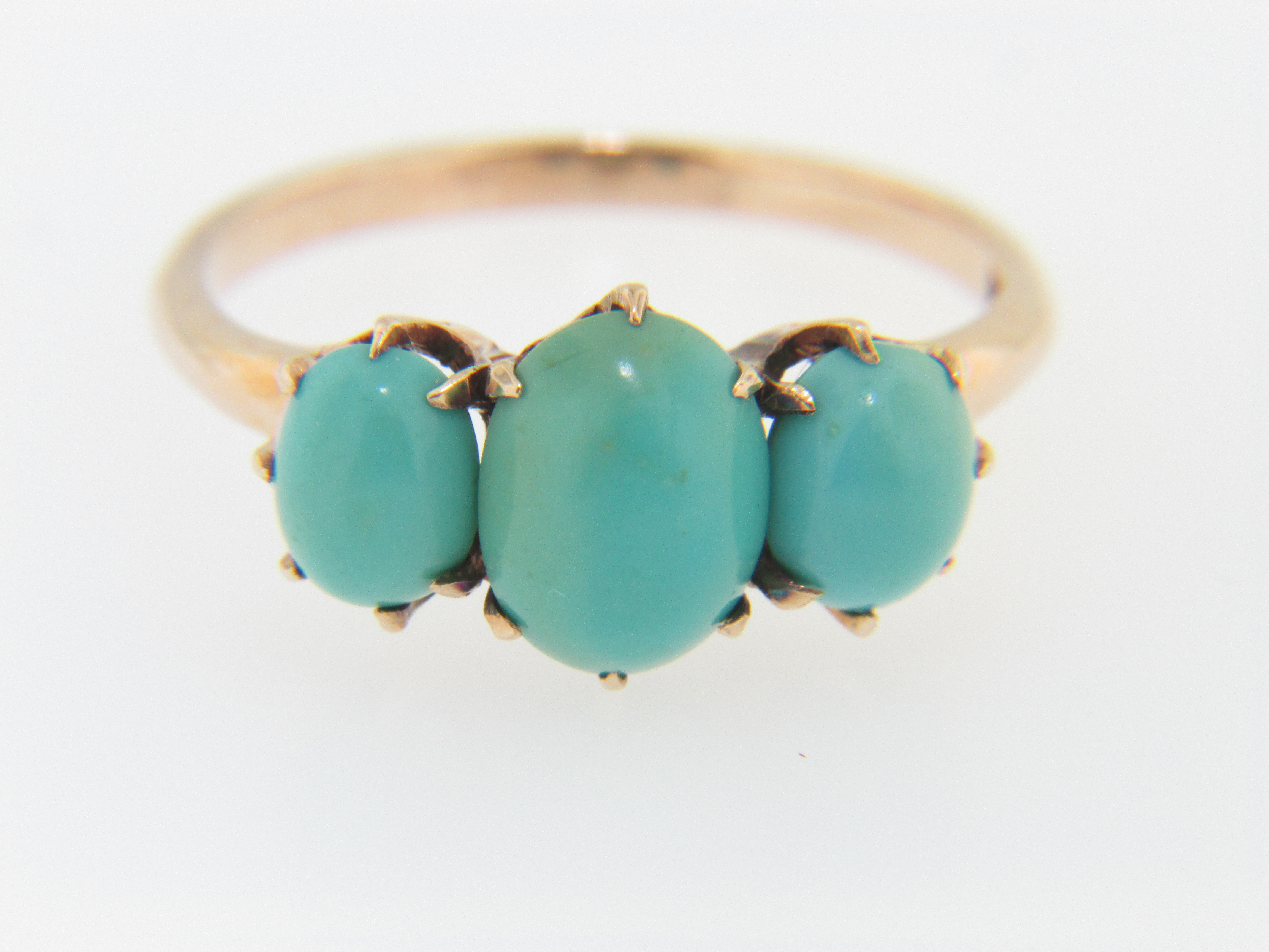 Vintage Antique 1880s Three Oval Turquoise Ring in 14k Rose Gold