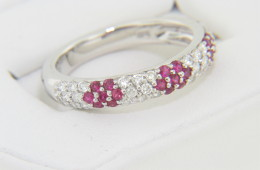 Contemporary 1.30ctw Round Ruby & Diamond Flower Design Band Ring in 18k White Gold Size 6.5
