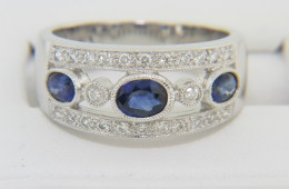 Vintage 1.13ctw Fine Oval Sapphire & Diamond Band Ring in 14k White Gold Size 6.25
