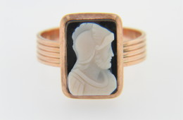 Vintage Antique Hand Carved Stone Warrior Cameo in Ring Rose Gold Size 4.75