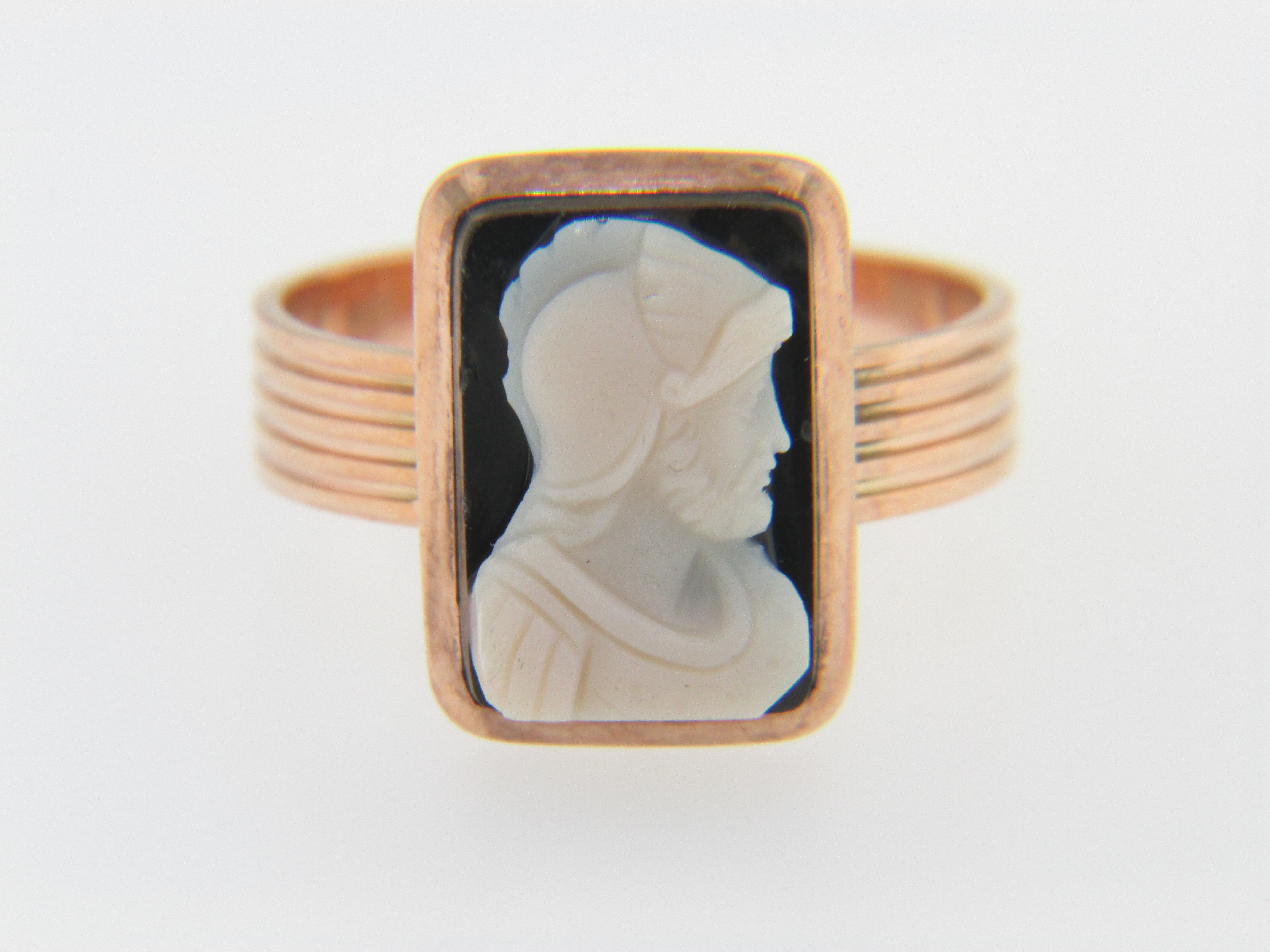 Vintage Antique Hand Carved Stone Warrior Cameo in Ring Rose Gold