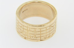 Vintage Written Music Musical Notes Wide Band Ring in 14k Yellow Gold Size 6.75