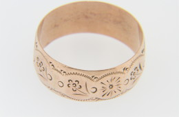 Vintage 1850's Rare Pennsylvania Dutch Hex Sign Wedding Band Ring in Rose Gold Size 10.5