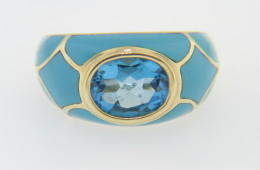 Vintage Oval Blue Topaz & Turquoise Inlay Ring in 10k Yellow Gold Size 6.25