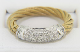 Vintage Charriol Two Tone 0.25ct Diamond Rope Cable Ring in 18k Yellow & White Gold Size 6
