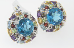 Contemporary 15.54ctw Blue Topaz & Multi-Gemstone Cluster Stud Earrings in 14k White Gold