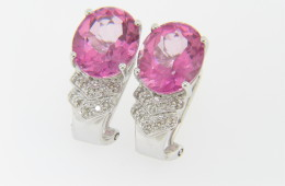 Contemporary Oval Pink Topaz & Diamond Stud Earrings in 14k White Gold