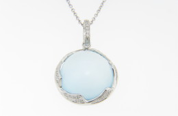 Contemporary Round Cabochon Blue Topaz & Diamond Necklace in 14k White Gold