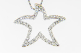 Contemporary 0.22ctw Round Diamond Star Starfish Necklace in 14k White Gold