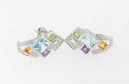 Contemporary Multi-gemstone & Diamond Whimsical Stud Earrings in 14k White Gold